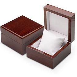 Luksusowe pudełko drewniane jubilerskie na bransoletkę - ciemny brąz.