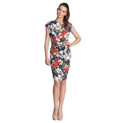 Sukienka ołówkowa - kwiaty/granat - S120