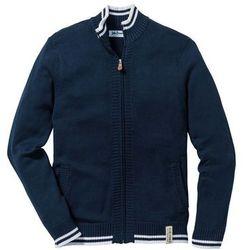 Sweter rozpinany ze stójką bonprix ciemnoniebieski