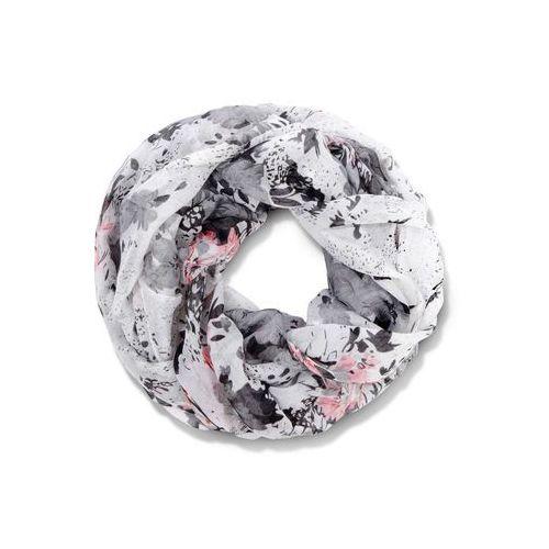 Szaliki i kominy, Szal koło bonprix szaro-biało-różowy