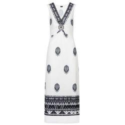Długa sukienka bonprix biało-czarny z nadrukiem