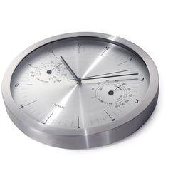 Maclean Zegar ścienny srebrny 14'' z termometrem i higrometrem CE30S