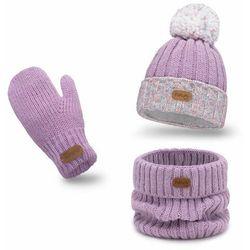 Zimowy komplet dziewczęcy, czapka komin rękawiczki - Lawenda - Lawenda