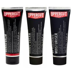 Uppercut Deluxe Beard Balm, Shave Cream and Moisturiser Aftershave Balm | Zestaw dla mężczyzn do pielęgnacji brody: balsam do brody 100ml + krem do golenia 100ml + nawilżający balsam po goleniu 100ml