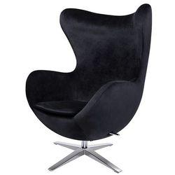 Fotel tapicerowany JAJO EGG SZEROKI VELVET czarny.50 - welur, podstawa stal