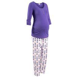 Piżama do karmienia piersią (2 części) bonprix lila-biały z nadrukiem