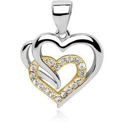 Rodowany pozłacany srebrny wisiorek serce cyrkonia cyrkonie srebro 925 Z0655CGR2