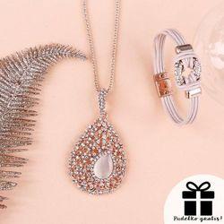 Zestaw biżuterii: naszyjnik i bransoletka z cyrkoniami