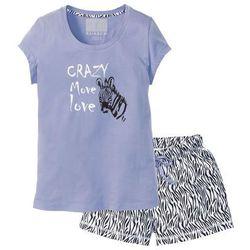 Piżama z krótkimi spodenkami bonprix lawenda - czarno-biały z nadrukiem
