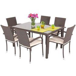 Meble ogrodowe z technorattanu MALAGA stół i 6 krzeseł - brązowe - brązowy