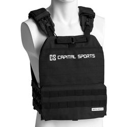 Capital Sports Battlevest 2.0, kamizelka obciążeniowa, 2x2 obciążniki po 2,6 kg/4 kg, czarna