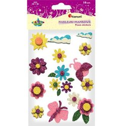 Naklejki piankowe: kwiaty, motylki brokatowe, mix kolorów i rozmiarów