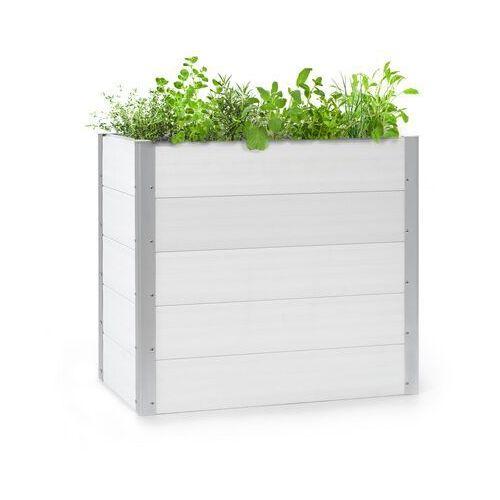 Doniczki i podstawki, Blumfeldt Nova Grow, podniesiona grządka, 100 x 91 x 50 cm, WPC, imitacja drewna, biała