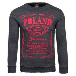 Bluza męska bez kaptura z nadrukiem antracytowo-czerwona Denley 0524