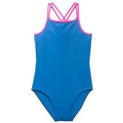 Kostium kąpielowy dziewczęcy bonprix lazurowy - różowy neonowy