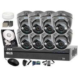 Zestaw do monitoringu: Rejestrator BCS-XVR0801 + 8x BCS-DMQE1200IR3 - Dysk 1tB + Akcesoria