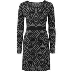 Sukienka dzianinowa bonprix czarno-szary melanż wzorzysty