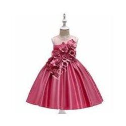 Suknia dla dziewczynki zdobiona kwiatami 3D z materiału w karmelkowym różu 068