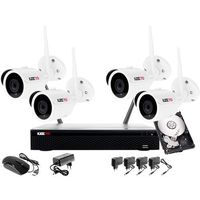 Zestawy monitoringowe, Monitoring zestaw bezprzewodowy 4 kamery WIFI 1080P + Rejestrator IP + Dysk 1TB