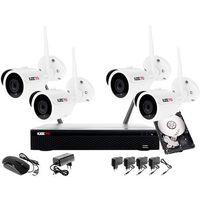 Zestawy monitoringowe, Monitoring zestaw bezprzewodowy 4 kamery WIFI 1080P + Rejestrator IP + Dysk 500GB