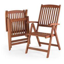 Krzesło ogrodowe drewniane poducha szaro-beżowa TOSCANA