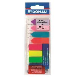 Zakładki indeksujące DONAU, PP, 12x45mm/12x42mm, stand. /strzałka, 4x25/4x25 kart., mix kolorów
