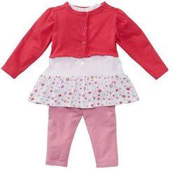 Bolerko niemowlęce + koszulka + legginsy (3 części), bawełna organiczna bonprix ciemnoróżowo-biało-jasnoróżowy