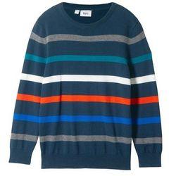 Sweter chłopięcy w paski bonprix ciemnoniebieski w paski
