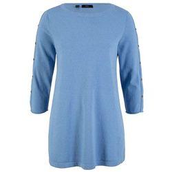 """Sweter z przędzy mieszankowej """"oversize"""", długi rękaw bonprix ciemnoniebieski"""