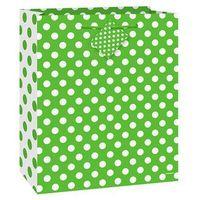 Opakowania prezentowe, Torebka prezentowa zielona w białe kropeczki 27x32 cm - 1 szt.