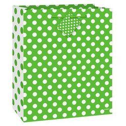 Torebka prezentowa zielona w białe kropeczki 27x32 cm - 1 szt.