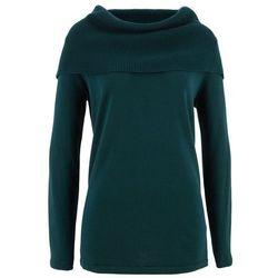 Sweter z golfem, długi rękaw bonprix niebieskozielony