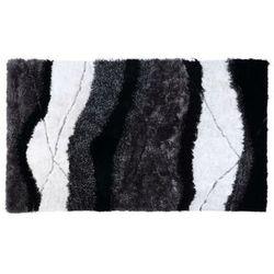 Dywan shaggy ECUME - poliestrowy, tuftowany ręcznie - Biało-czarny - 200 * 290 cm