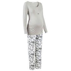 Piżama do karmienia piersią (2 części) bonprix szary z nadrukiem
