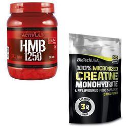 Kreatyna BIOTECH 100% CREATINE MONOHYDRATE - 500G bag + Hmb ACTIVLAB HMB 1250 230 tabs