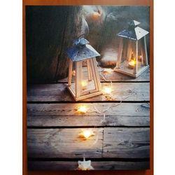 Lampion i gwiazdki - Świecący Obraz LED 30x40 cm