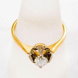 Złoty pierścionek z diamentem P1624