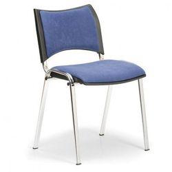 Krzesło konferencyjne SMART - chromowane nogi, bez podłokietników, niebieski