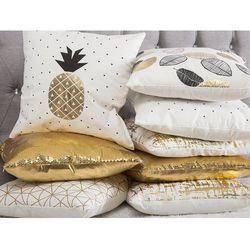 Poduszka dekoracyjna ananas bawełniana czarna/złota 45 x 45 cm