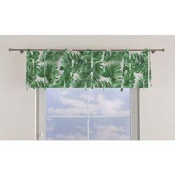 Dekoria Lambrekin na troczkach, zielone liście na białym tle, 390×40cm, Urban Jungle