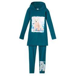 Długi shirt dziewczęcy z kapturem + legginsy (2 części) bonprix niebiesko-zielony z nadrukiem
