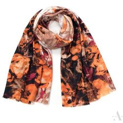 Stylowy szal damski z wzorem róży brązowo-pomarańczowy - brązowy   pomarańczowy   rudy   bordowy   biały SZALIKI, CZAPKI, RĘKAWICZKI (-20%)