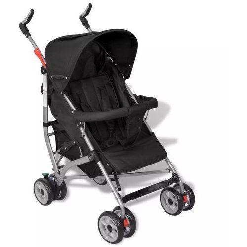 Wózki spacerowe, vidaXL Wózek spacerowy dziecięcy, składany, 5 pozycji, czarny