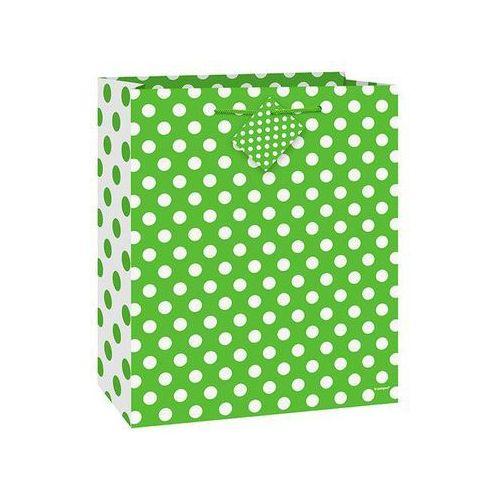 Opakowania prezentowe, Torebka prezentowa zielona w białe kropeczki 18x23 cm - 1 szt.
