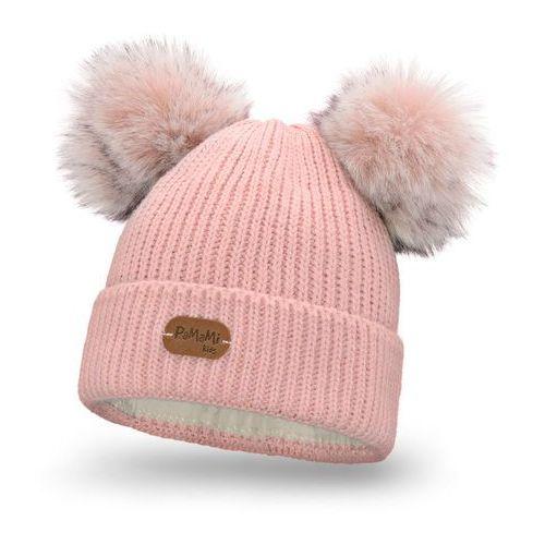 Czapki i nakrycia głowy dziecięce, Zimowa czapka dziewczęca PaMaMi - Pudrowy róż - Pudrowy róż