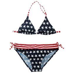 Bikini dziewczęce (2 części) bonprix ciemnoniebiesko-czerwony w gwiazdki
