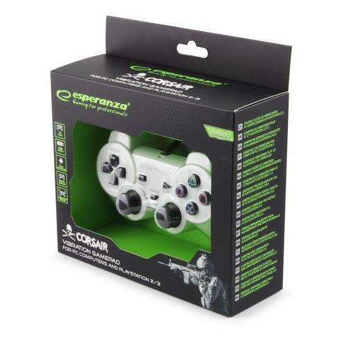 "Gamepady, Gamepad PS2/PS3/PC USB Esperanza ""Corsair"" biało/czarny"