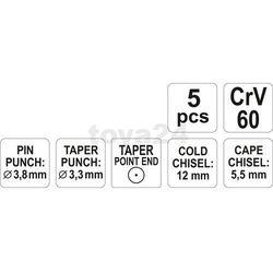Przecinaki i punktaki, kpl. 5szt. / YT-4695 / YATO - ZYSKAJ RABAT 30 ZŁ