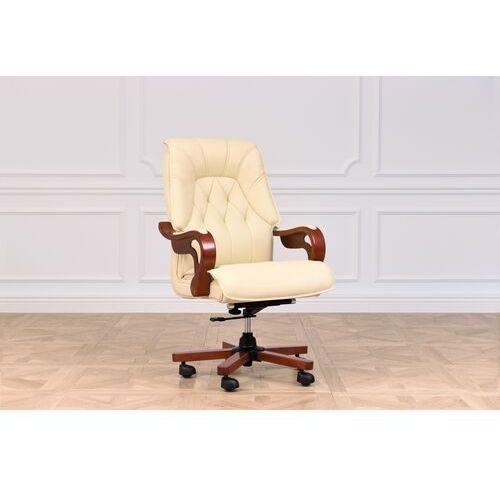 Fotele i krzesła biurowe, Fotel skórzany MAKLER kremowy
