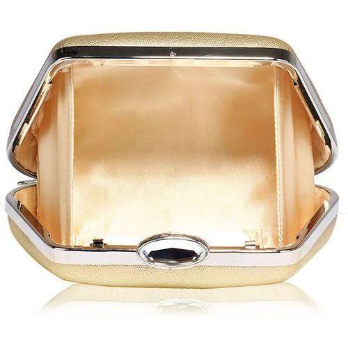 Torebki, Złota torebka wizytowa na wesele z kryształowym zamknięciem - złoty